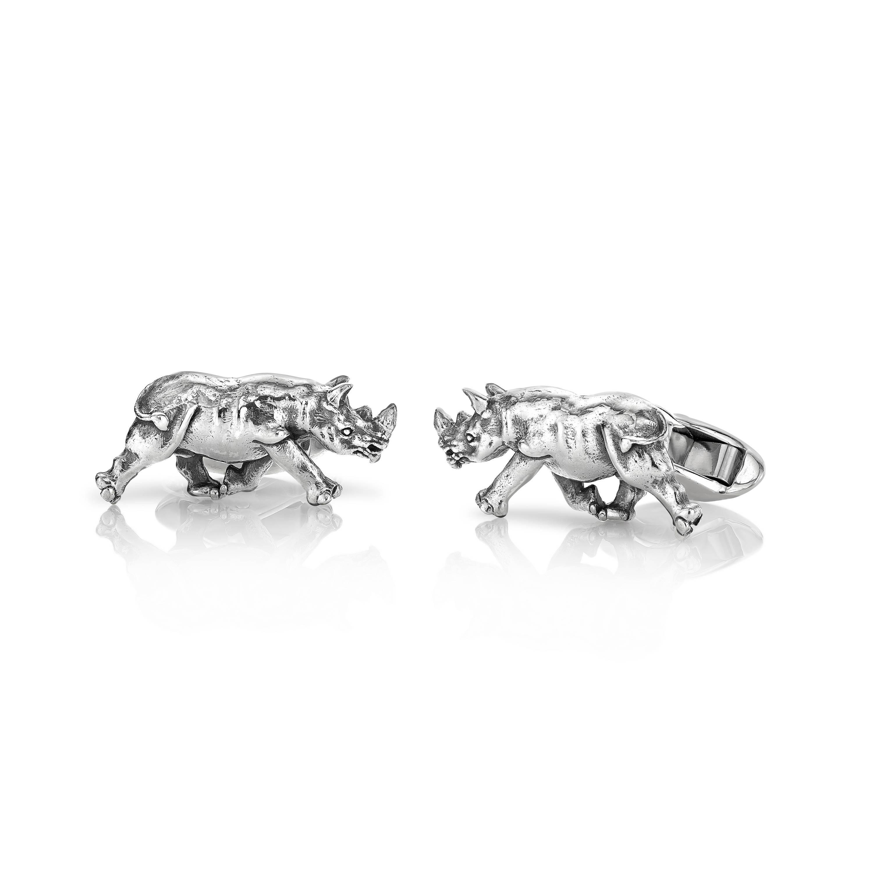 Papa Rhino Cufflinks in Sterling Silver