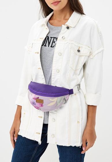 Женская бананка из экокожи комбинированна/ фиолетовая с цветами