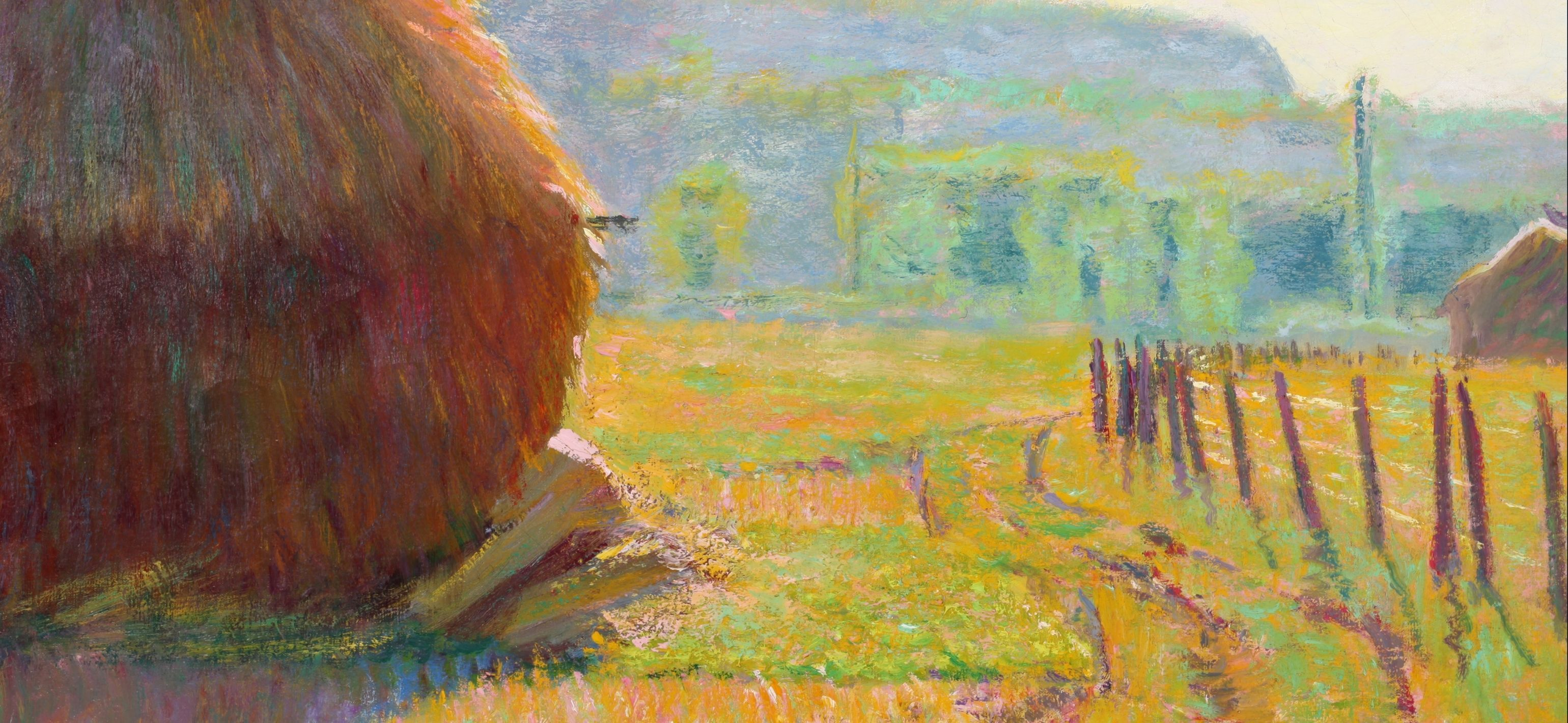 Detail of a painting: Theodore Earl Butler, Grainstacks, Giverny