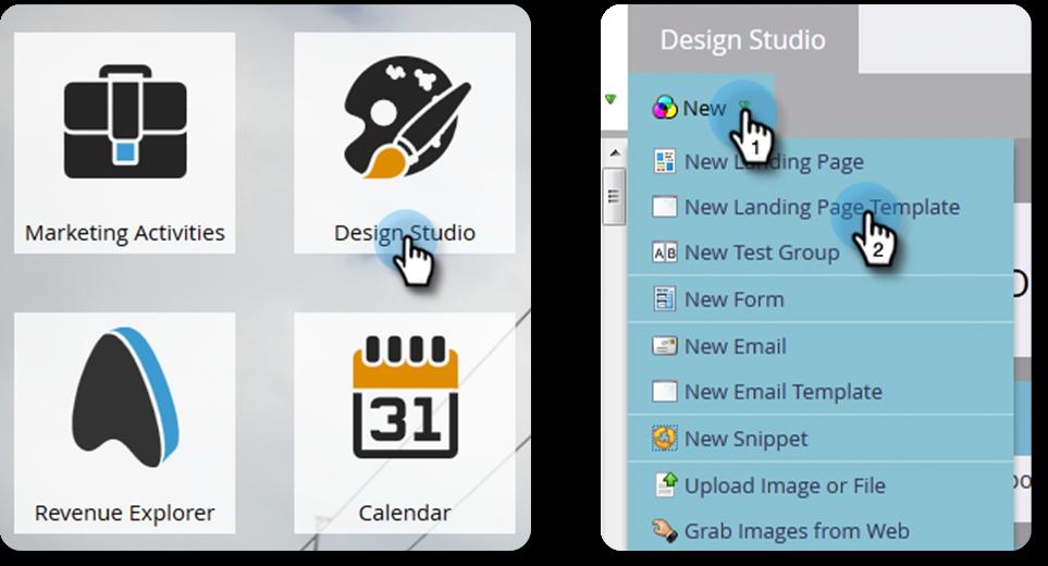 Creating a new landing page in Marketo Design Studio