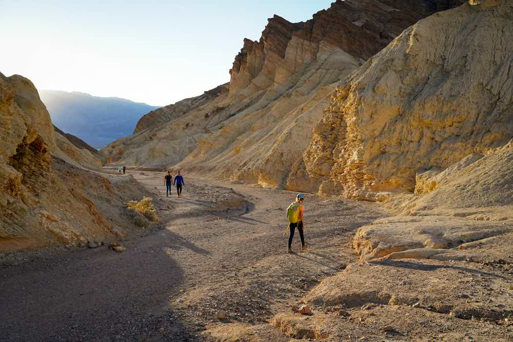 Hiker in Gold Canyon at Death Valley National Park