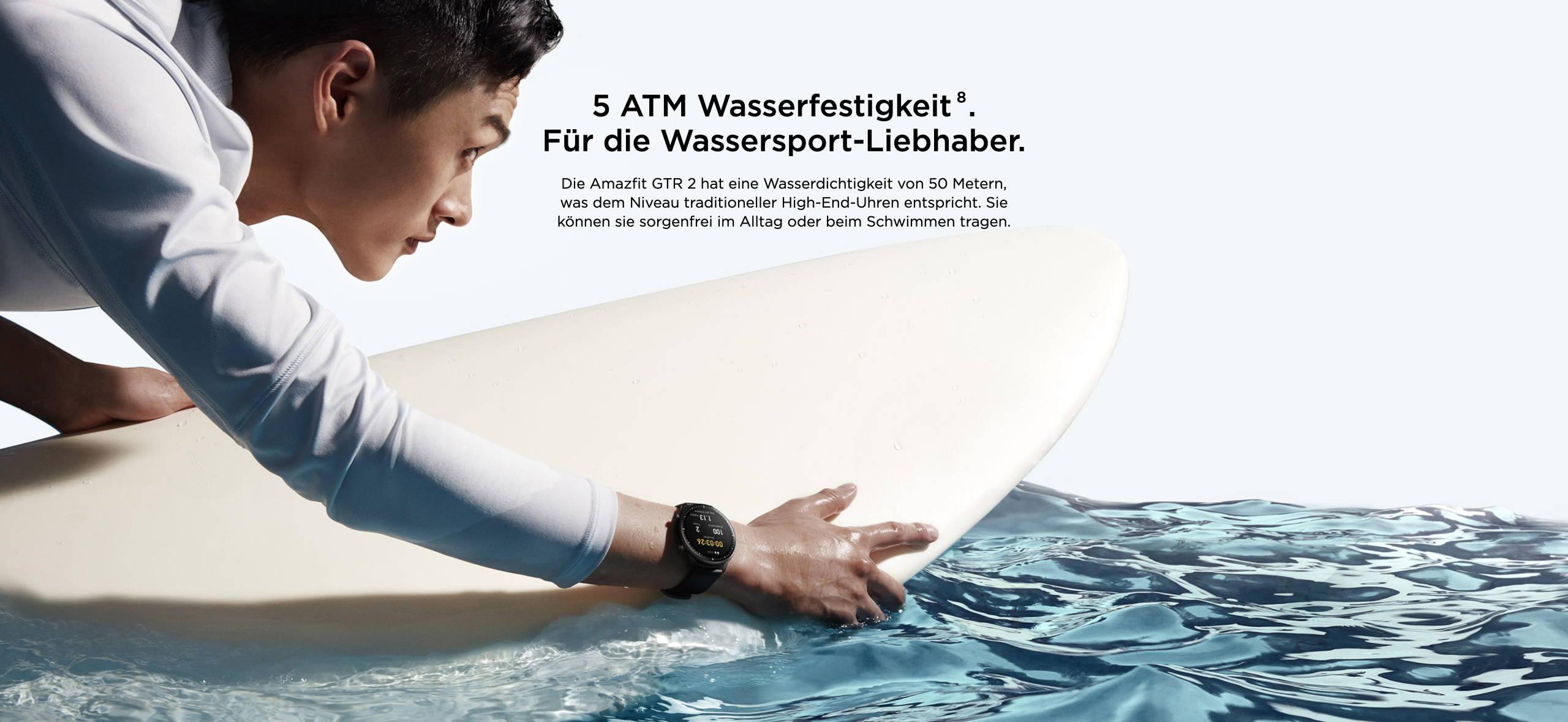 Amazfit GTR 2 - 5 ATM Wasserfestigkeit. Für die Wassersport-Liebhaber.