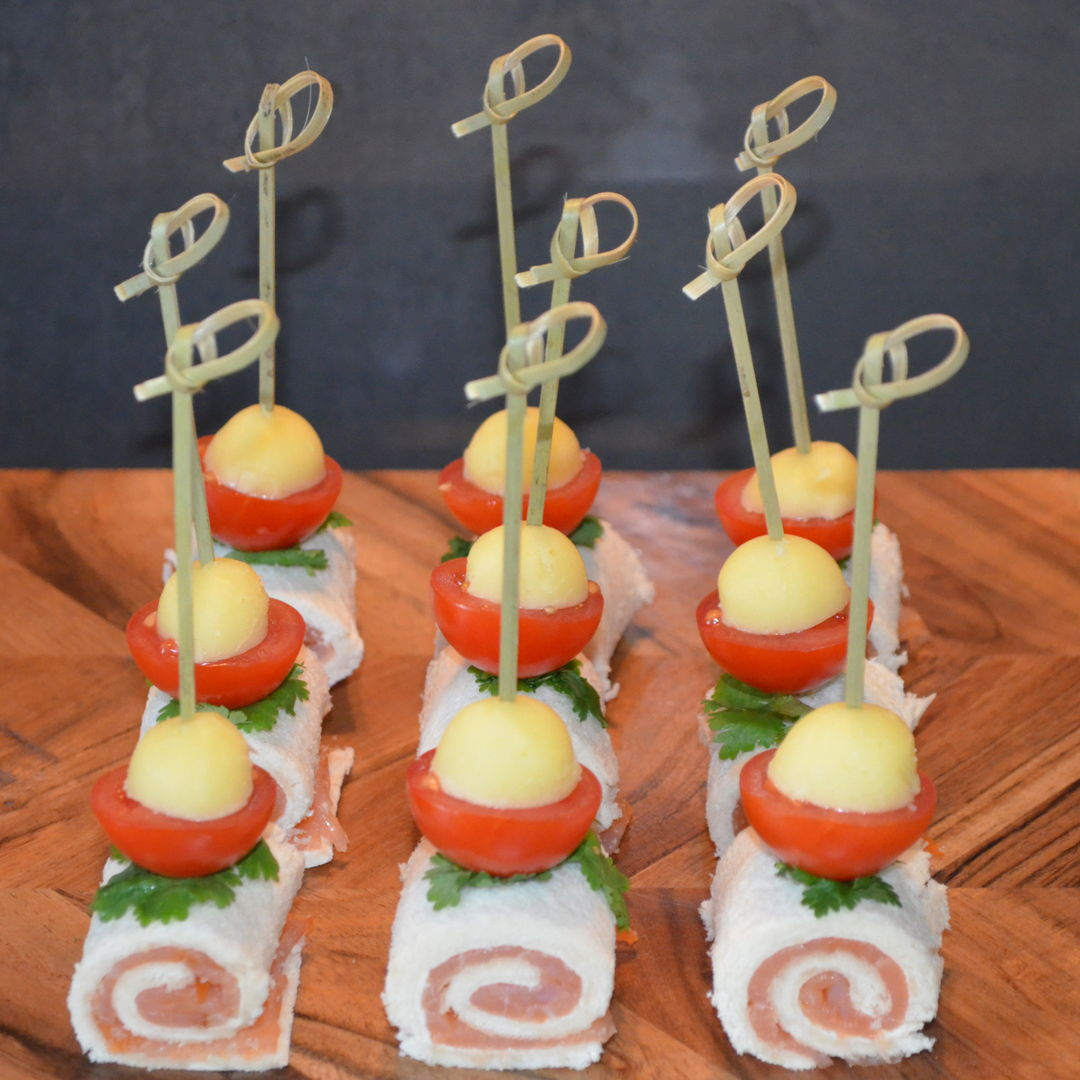 Date: 22 Mar 2020 (Sun) 3rd Hor D'oeuvre: Rolls with Salmon [283] [158.3%] [Score: 10.0] Cuisine: Polish Dish Type: Hors d'oeuvre Prepared a 5 Course Meal Dinner tonight: hors d'oeuvre, soup, appetizer, main, and dessert. This is the hors d'oeuvre of the dinner.