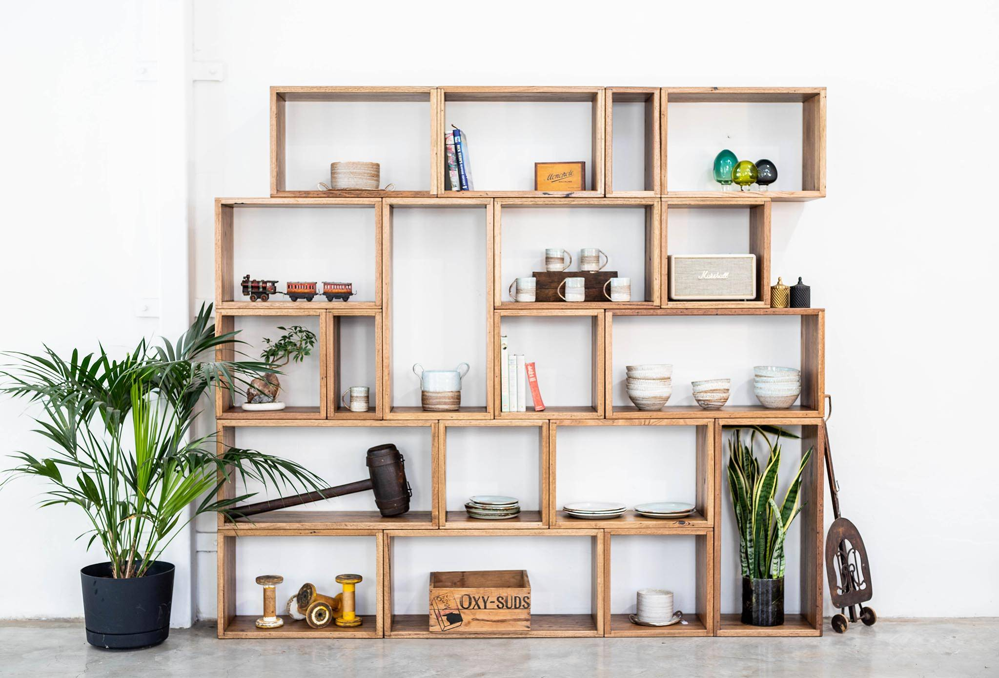 Modular Shelving Unit Stringy Bark Recycled Timber