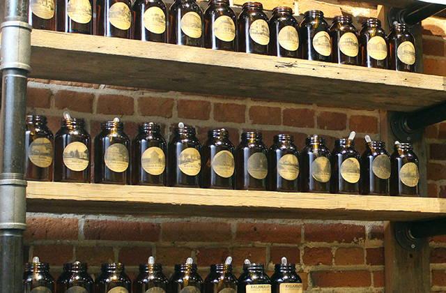 Shelves of fragrance oil