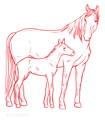 Drawing mare and foal curafyt
