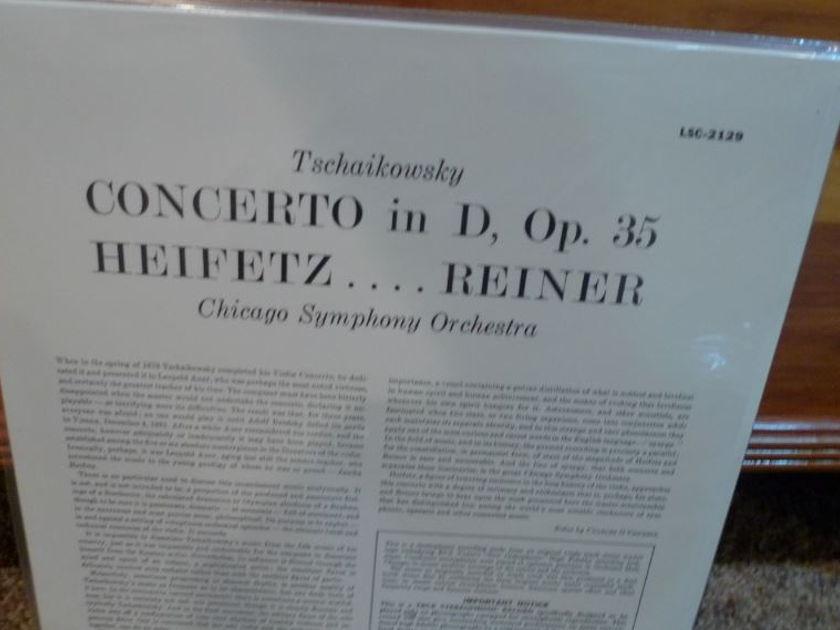 (Heifitz) Chicago Symphony (Reiner) - Tschaikowsky Violin Concerto lsc-2129 Classic Records original reissue 180G 1990's Sealed