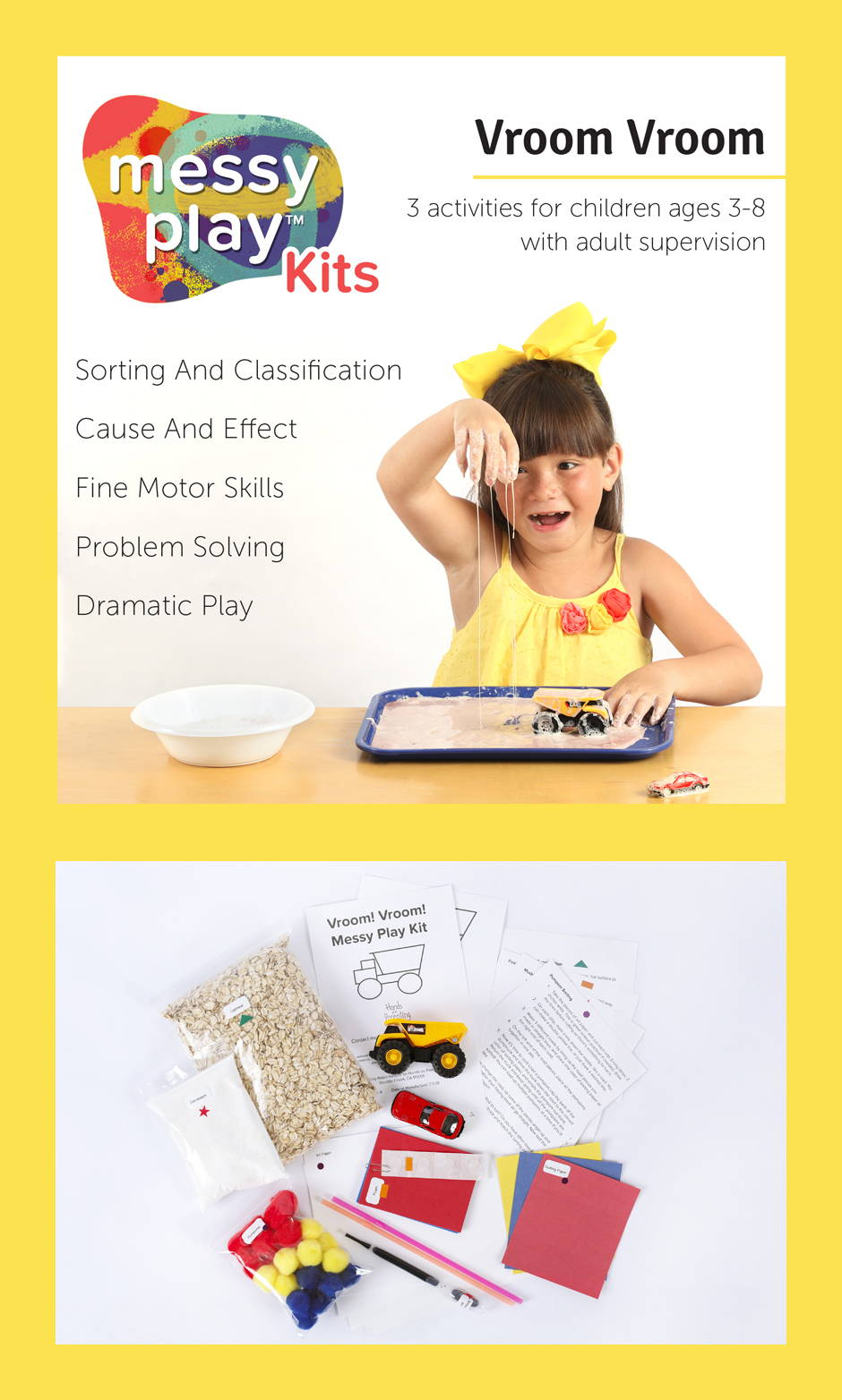 Vroom Vroom Messy Play Kit contains 4 activities that teach Sorting and classification, cause and effect, fine motor skills, problem solving, and dramatic play.