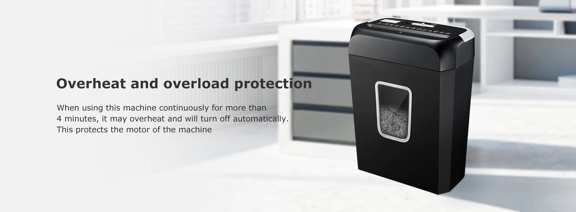 Overheat and overload protection  When using this machine continuously for more than 4 minutes, it may overheat and will turn off automatically. This protects the motor of the machine