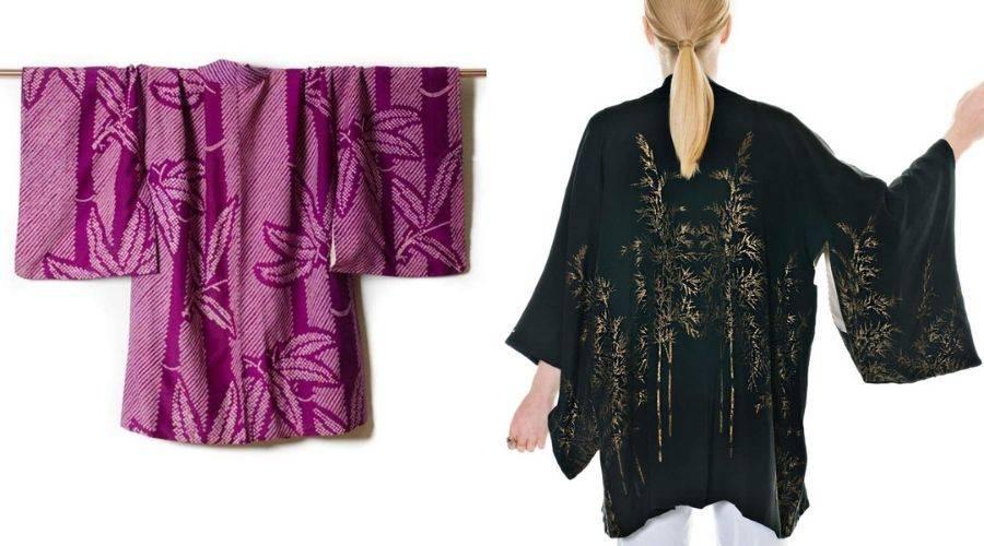 Examples of bamboo motif on japanese kimono