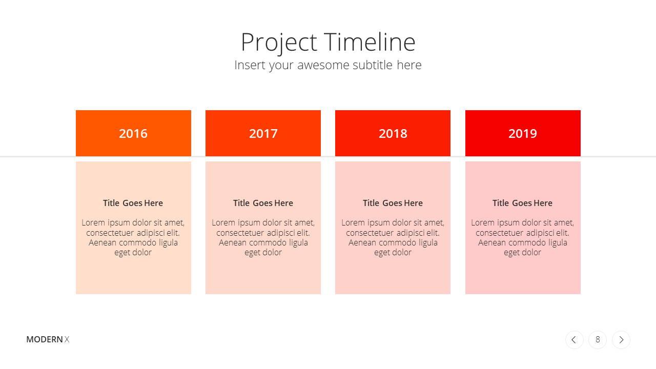 Modern X Project Proposal Presentation Template Project Timeline
