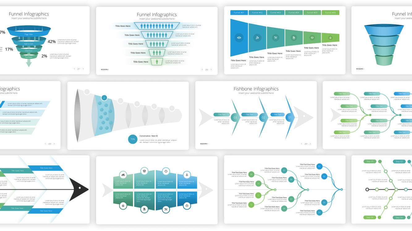 funnel infographic powerpoint template, fishbone infographic powerpoint template, infographic powerpoint template, infographic presentation template