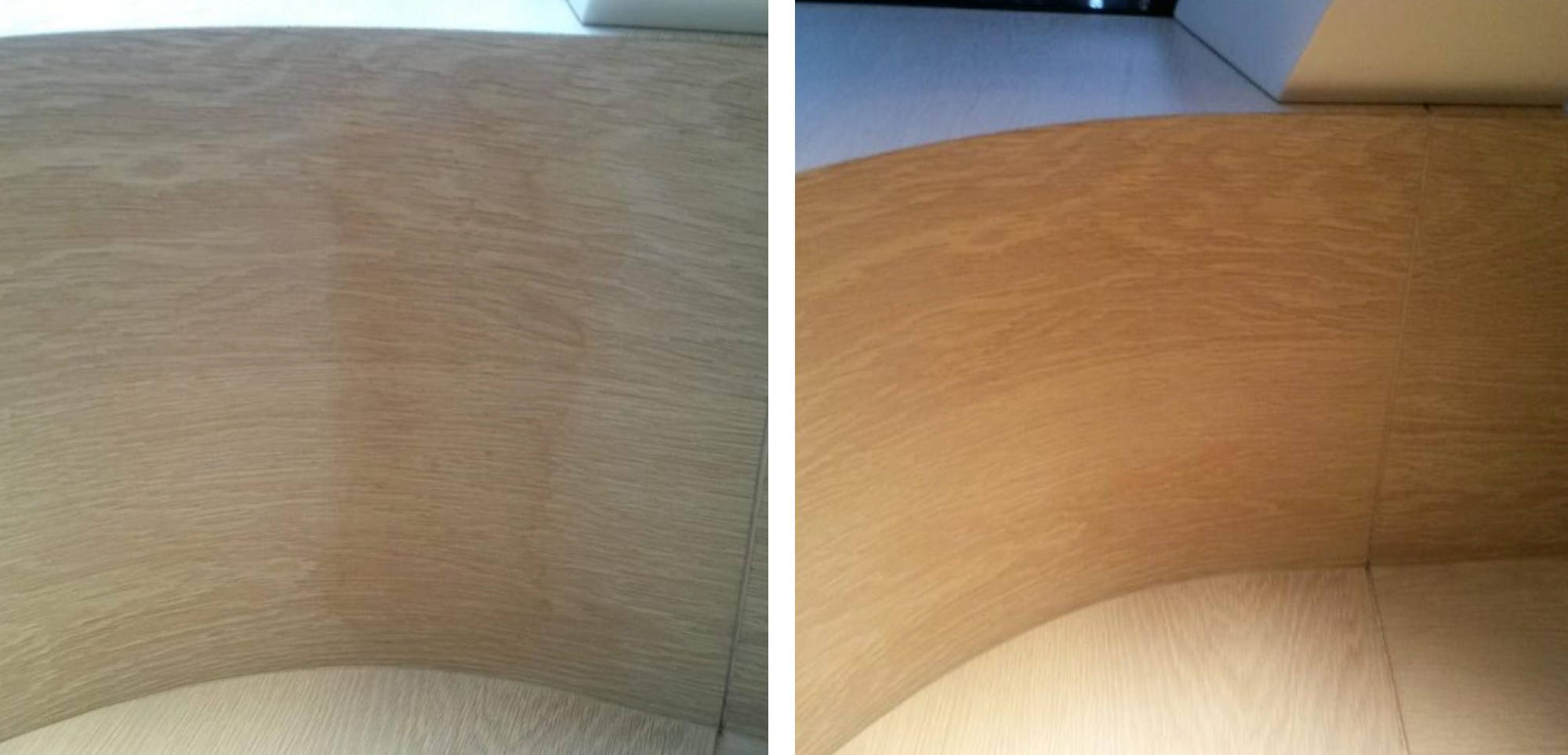 Before and after image of water stains removed from a yacht's wood interior