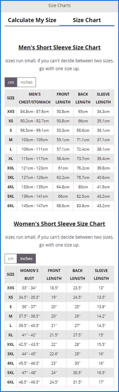 chart size details cycling apparels