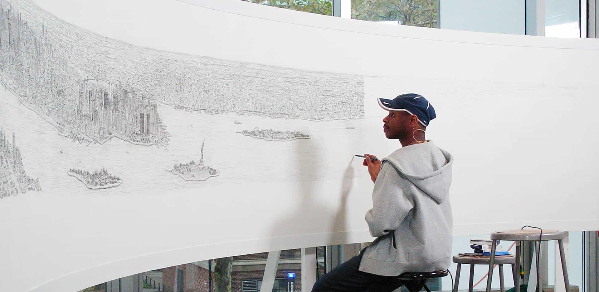Stephen Wiltshire draws New York Panorama