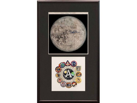 MOON CHART AND APOLLO 11 PATCH SIGNED BY BUZZ ALDRIN