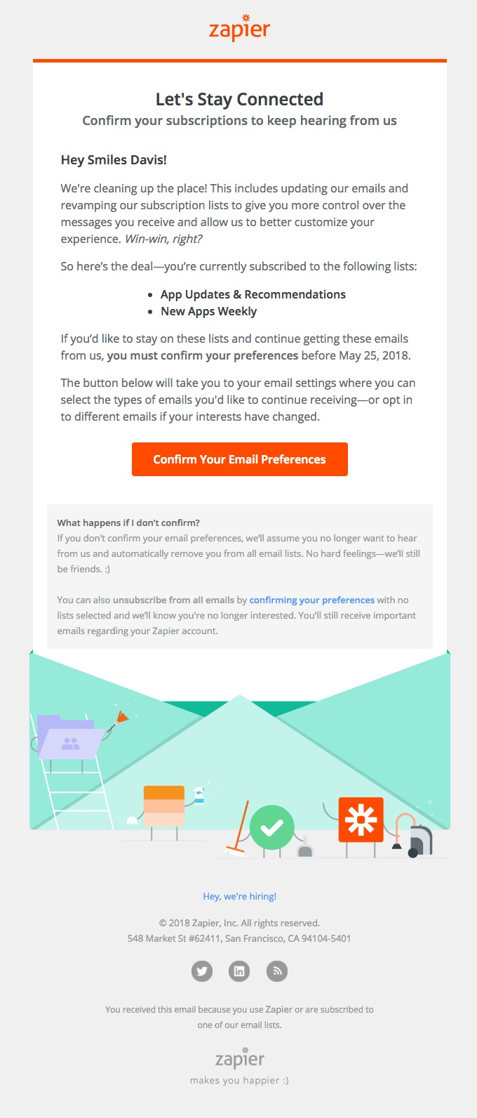 Zapier promotes transparency by telling subscribers what exactly they've subscribed to.