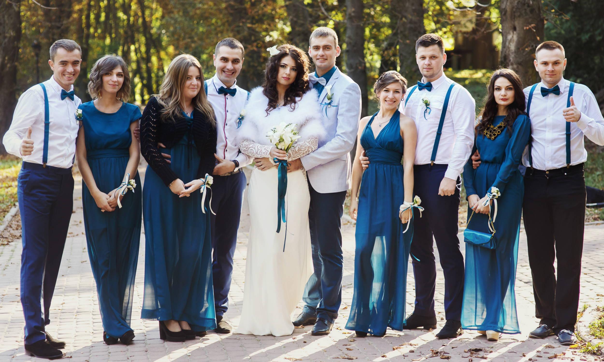 Wedding Suspenders - Wedding Party Wearing Navy Bow Tie & Navy Suspenders