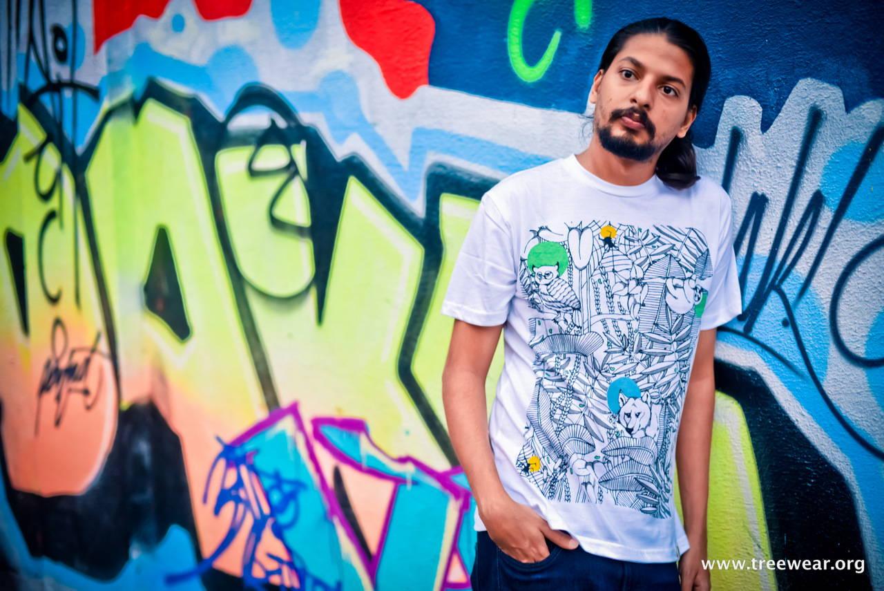 Organic Cotton Pocket T-shirt - Forest Print - Sasoon Dock hero shot