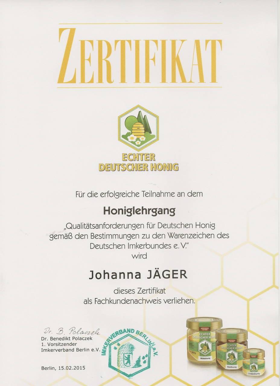Zertifikat für den Honiglehrgang beim Deutschen Imkerbund