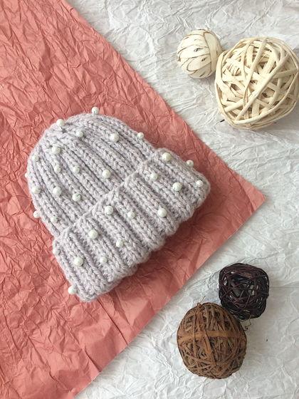 Тёплая нежная шапка PEARLS