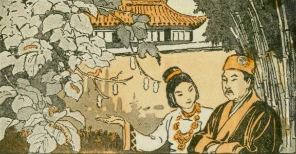 image of Empress Xi Ling Shi showing her husband the silkworms she discovered