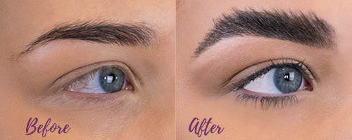 Brow lamination before & after