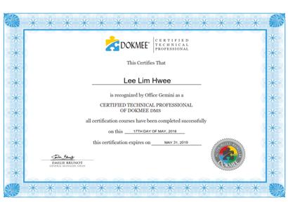 Dokmee certification for Lee Lim Hwee