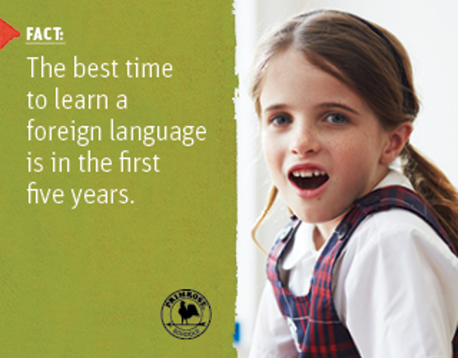 Poster describing a scientific fact about learning a new language next to a smiling young Primrose student