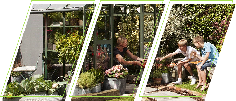 A family planting together in a greenhouse garden