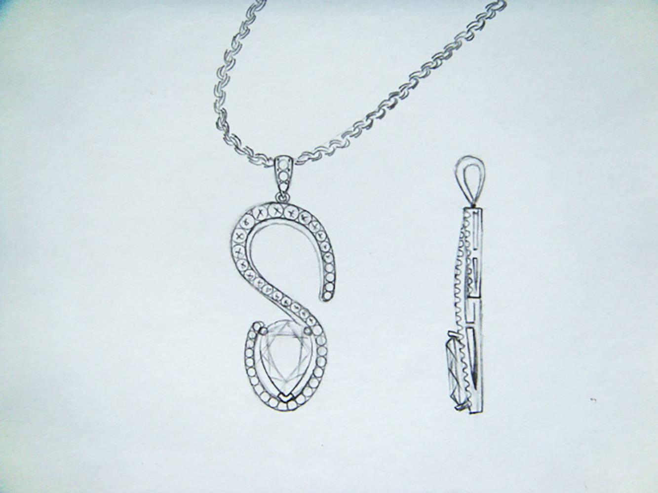 """S"" Shape Tanzanite Pendant drawing"