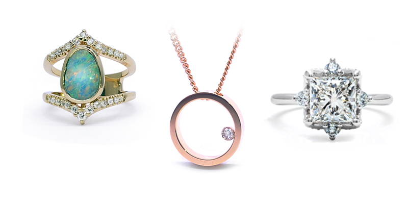 3 jewels side by side: An Australian opal set on a princess ring with about twenty small diamonds anchored on the body of the ring in yellow gold. A round pendant in yellow gold with a small diamond inside. A high jewellery ring in white gold with a princess diamond in the center and four small diamonds around.