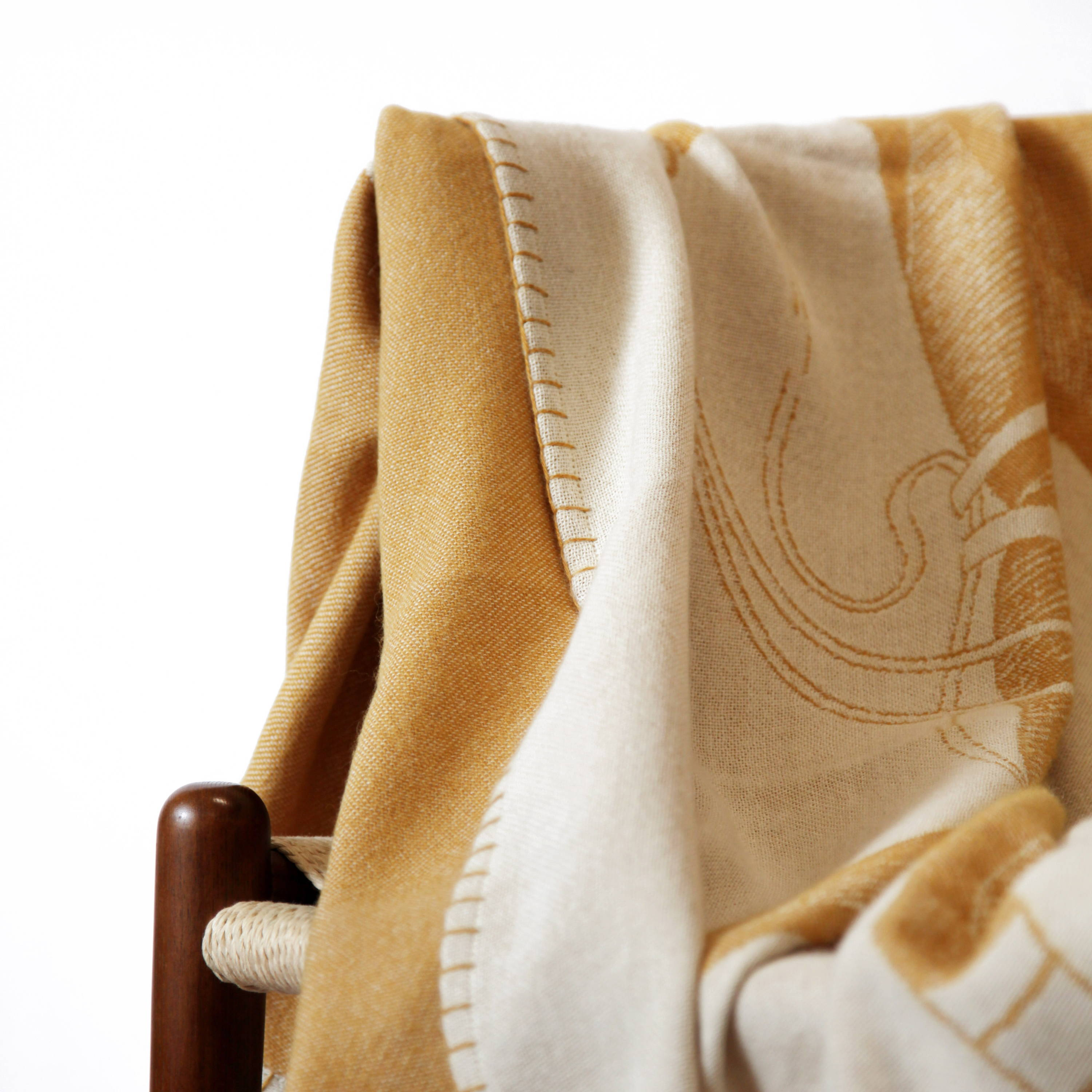 Equestrian-inspired alpaca polo pony throw with hand-stitched edges - Stick & Ball