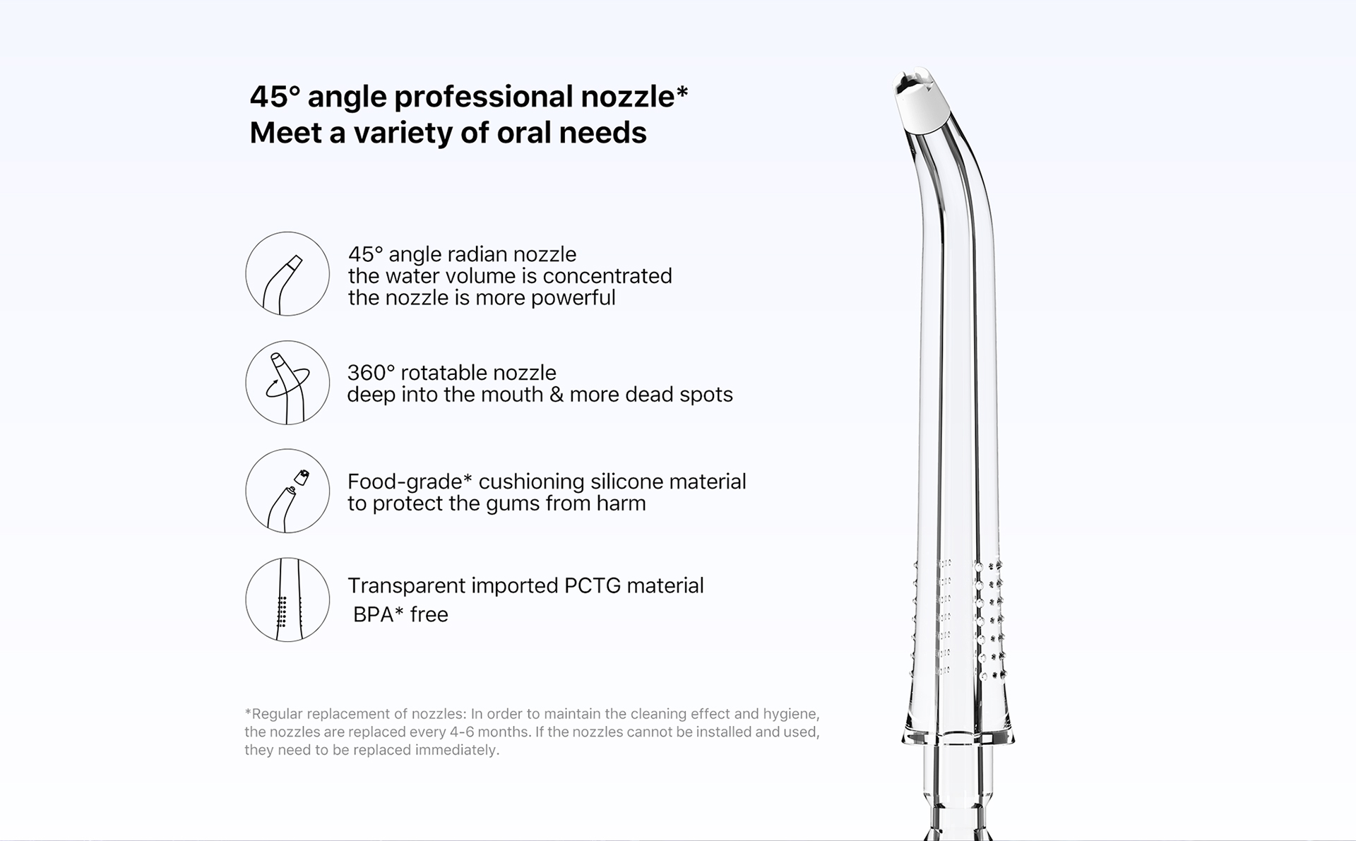 45 angle radian nozzle the water volume is concentrated the nozzle is more powerful