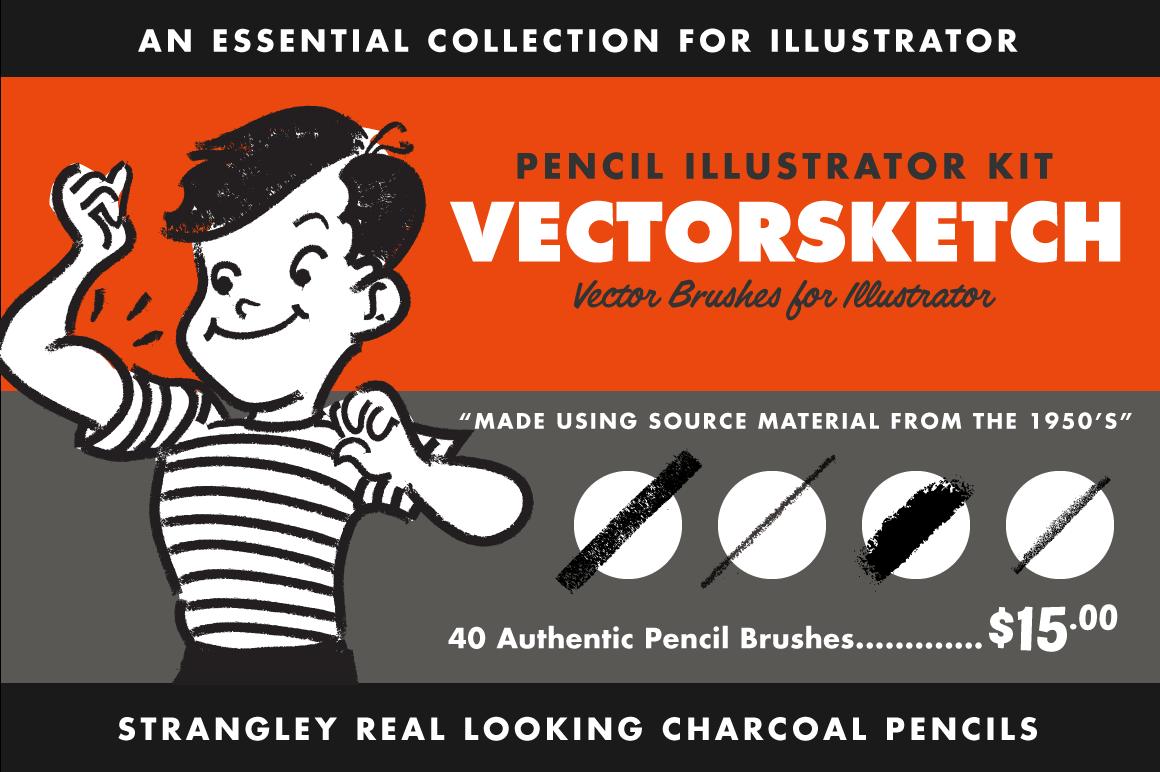 Retro pencil brushes for Illustrator
