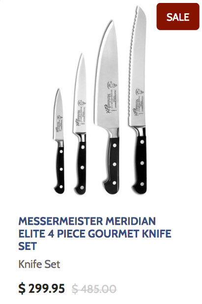 Messermeister Meridian Elite 4 Piece Gourmet Knife Set