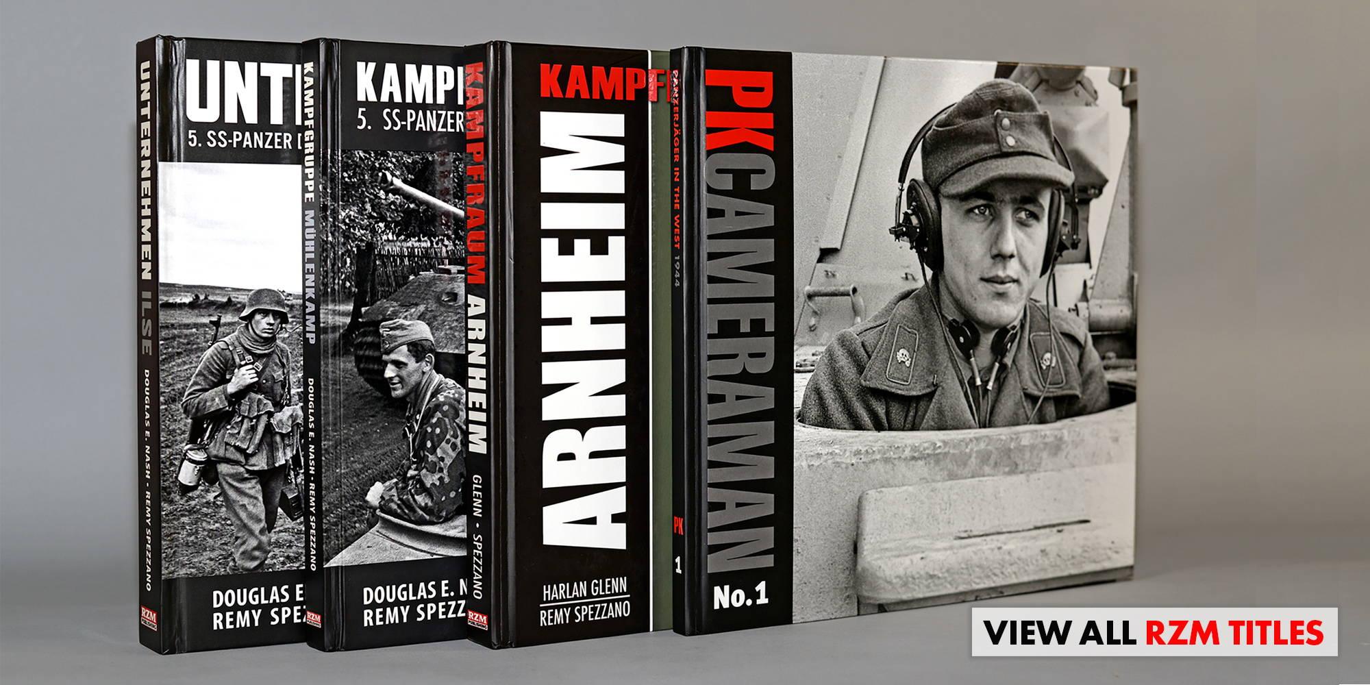 RZM Publishing books Unternehmen Ilse, Kampfgrupppe Mühlenkamp, Kampfraum Arnheim and PK Cameraman