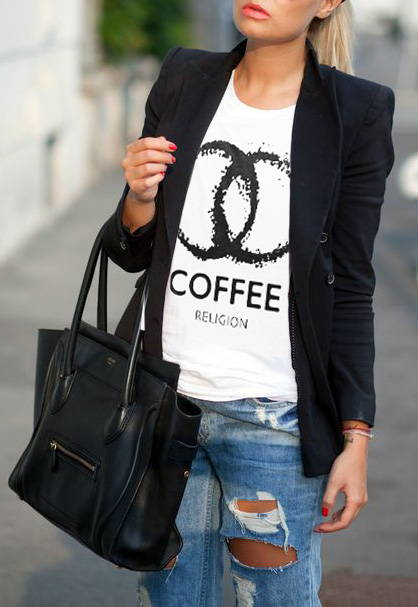 Coffee Religion Trendy T-Shirt Blogger Style