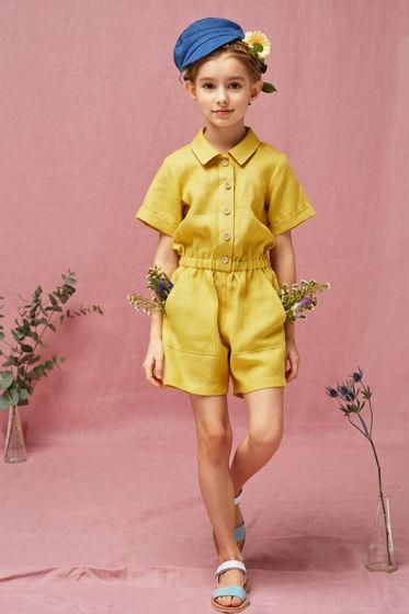 Комбинезон для девочки (желтый лен)