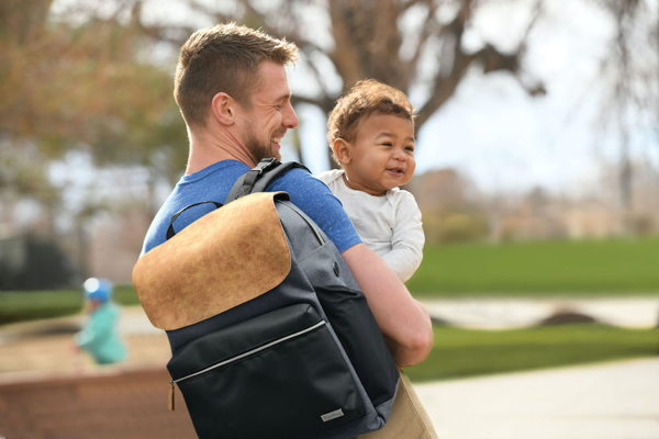 child with day tripper diaper backpack
