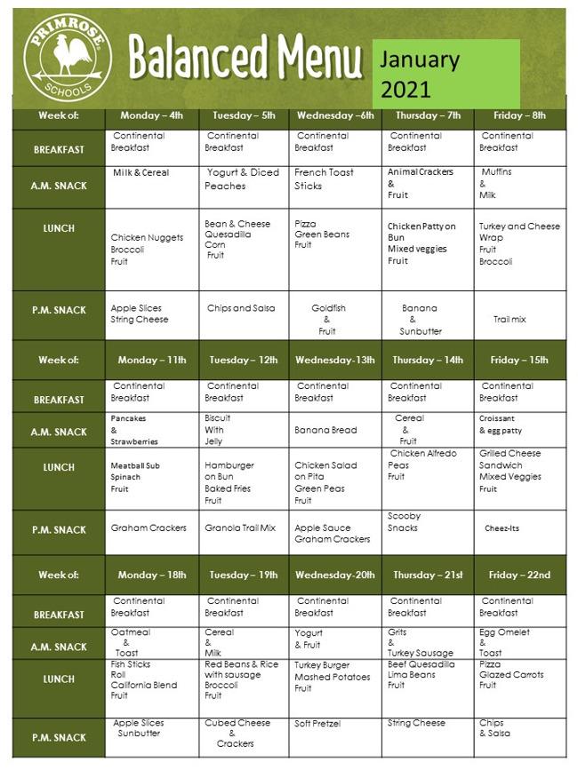 January Food Menu (Part 1)