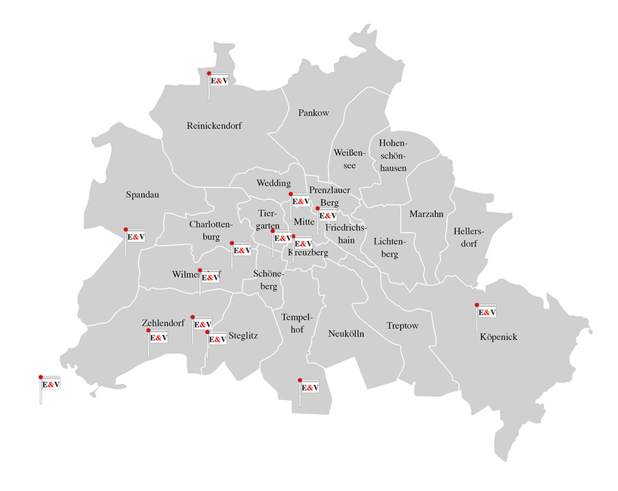 Berlin - Here you will find an overview of the locations of the Engel & Völkers Shops in Berlin.