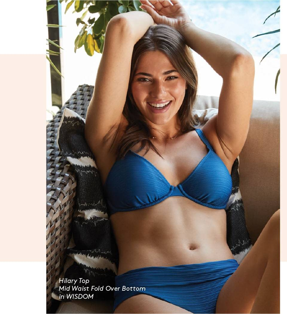 SKYE's Hilary top and Mid Waist Fold Over bottom in the Wisdom Blue color from the GEMS collection.