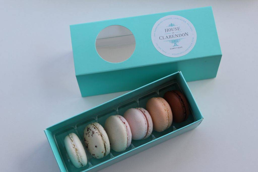 Macarons in a box. Order yours today at House of Clarendon in Lancaster, PA