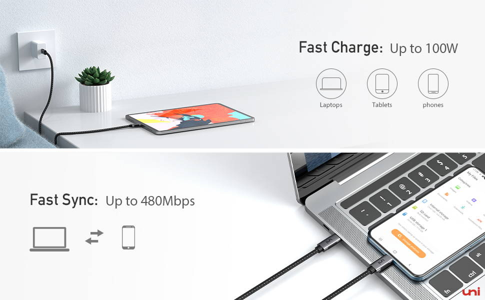 USB-C to USB-Charging Cable 15ft/10ft/6ft, braided nylon cable, 100W fast charge, iPad air 4, usb c to usb c, type c cable, charge cable for ipad air 4