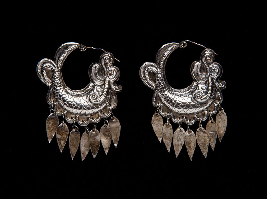Pair of Earrings, China (Miao), first half of the 20th century, Silver, each 1 7/8 in. (4.8 cm), Promised gift from Elizabeth and Robert Lende, L.2020.23.34.a-b, Photo by Seale Studios