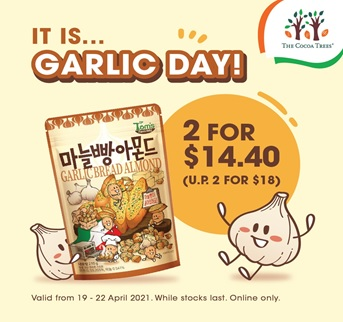 Its Garlic Day 19 Apr | Take 20% off HBAF Garlic Bread & Almond 210g