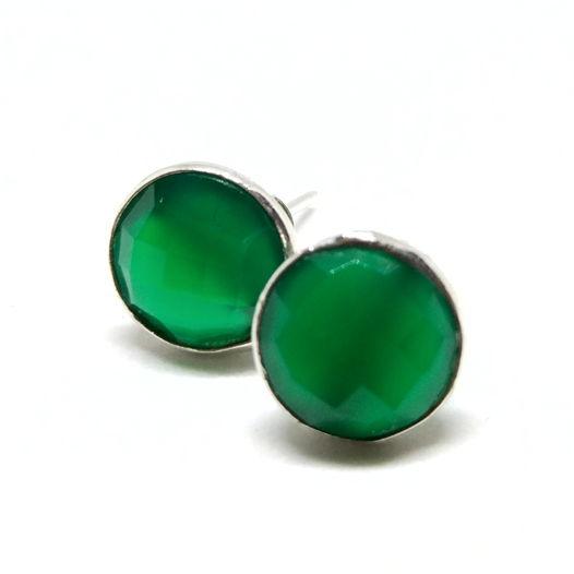 Серьги - гвоздики с зеленым ониксом серебро 925