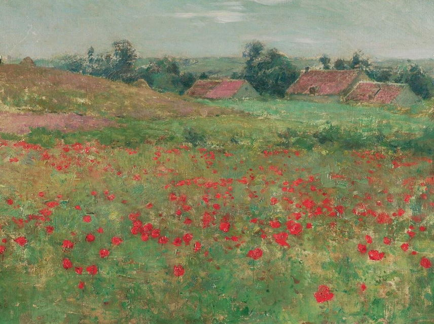 Poppy Field, Willard Metcalf, Oil on Canvas, 10 5/8 x 18 5/6 in., Collection of J. Jeffrey and Ann Marie Fox