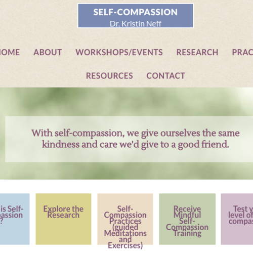 screen image of self-compassion.org a great resource for new NICU mothers